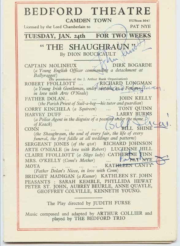 Image 1 for The Shaughraun Play Cast - Show Bill Signed Circa 1950 co-signed by: Pat Nye, Richard Longman, Bill Shine, John Penrose - HFSID 143001