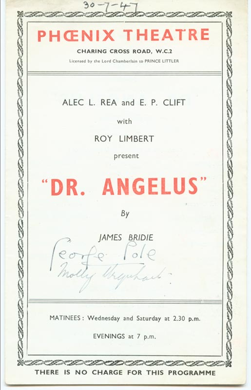 Image 1 for Dr. Angelus Play Cast - Show Bill Signed Circa 1947 co-signed by: George Cole, Molly Urquhart - HFSID 143010