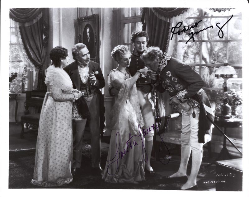 Image 1 for House Of Rothschild Movie Cast - Autographed Signed Photograph co-signed by: Loretta Young, Robert Young - HFSID 143588
