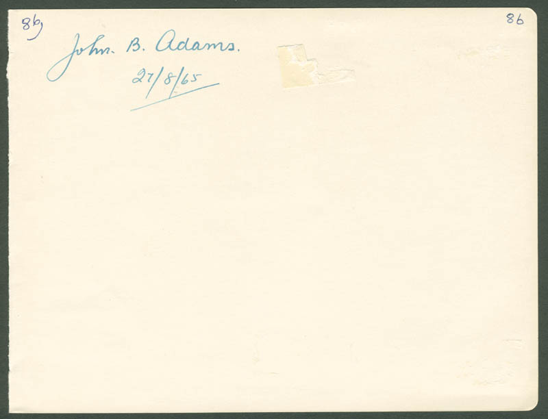 Image 1 for John Bertram Adams - Autograph 08/27/1965 - HFSID 143728