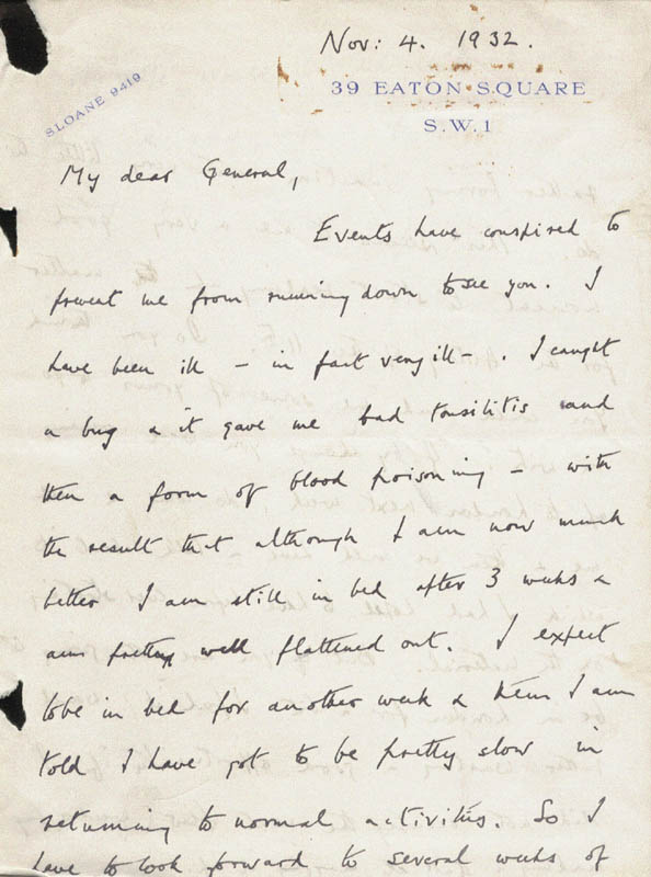 Image 3 for General Roger (11th Earl Of Scarbrough) Lumley - Autograph Letter Signed 11/04/1932 - HFSID 143744