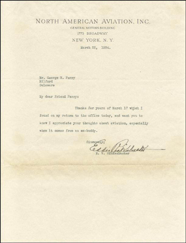 Image 1 for Major Edward V. 'Eddie' Rickenbacker - Typed Letter Signed 03/22/1934 - HFSID 143962