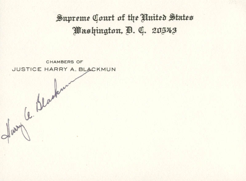 Image 1 for Associate Justice Harry A. Blackmun - Supreme Court Card Signed - HFSID 143969