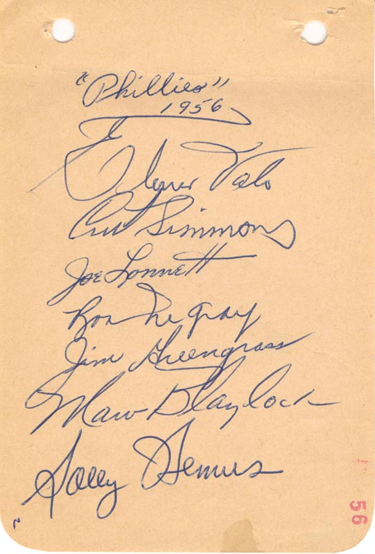 Image 1 for The Philadelphia Phillies - Autograph Circa 1956 with co-signers - HFSID 143977