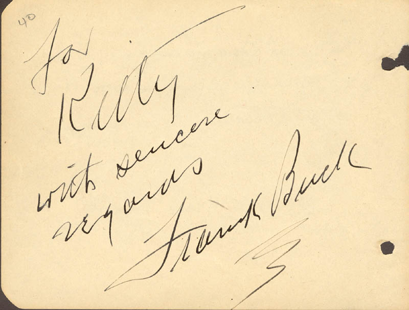 Image 1 for Frank 'Bring 'Em Back Alive' Buck - Autograph Note Signed Circa 1934 co-signed by: Jane Griswold - HFSID 144258
