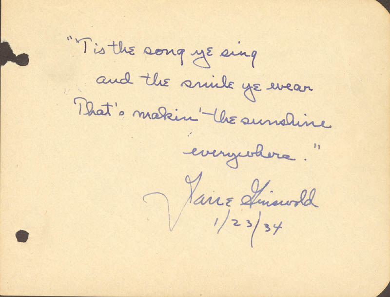Image 3 for Frank 'Bring 'Em Back Alive' Buck - Autograph Note Signed Circa 1934 co-signed by: Jane Griswold - HFSID 144258