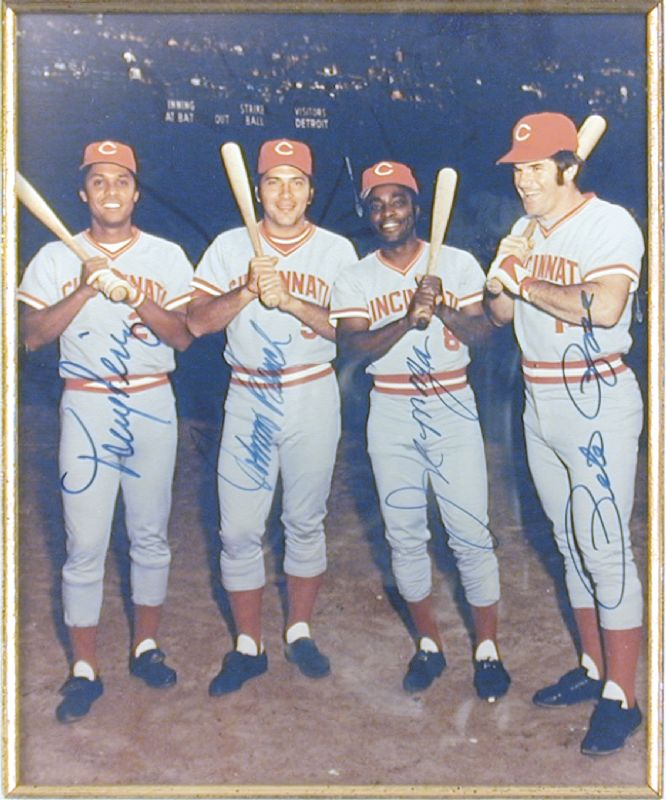 Image 1 for Cincinnati Reds - Autographed Signed Photograph co-signed by: Johnny Bench, Joe 'Little Joe' Morgan, Tony Perez, Pete Rose - HFSID 144604