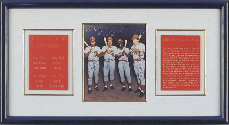 Image 3 for Cincinnati Reds - Autographed Signed Photograph co-signed by: Johnny Bench, Joe 'Little Joe' Morgan, Tony Perez, Pete Rose - HFSID 144604