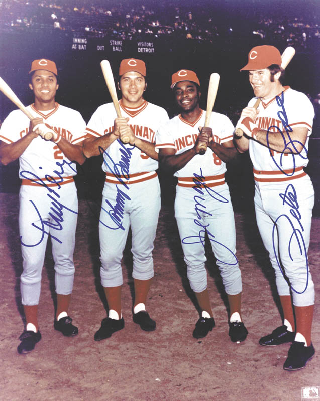 Image 1 for Cincinnati Reds - Autographed Signed Photograph co-signed by: Johnny Bench, Joe 'Little Joe' Morgan, Tony Perez, Pete Rose - HFSID 144636