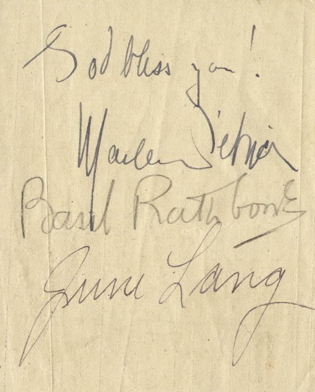 Image 1 for Marlene Dietrich - Autograph co-signed by: June Lang, Basil Rathbone - HFSID 145265