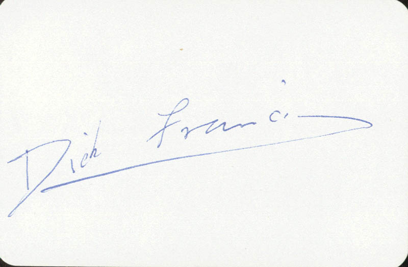 DICK FRANCIS - PLAYING CARD SIGNED - HFSID 146432