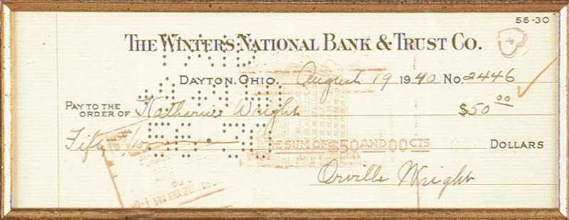 Image 3 for Orville Wright - Autographed Signed Check 08/19/1940 co-signed by: Katharine (Niece) Wright - HFSID 14652