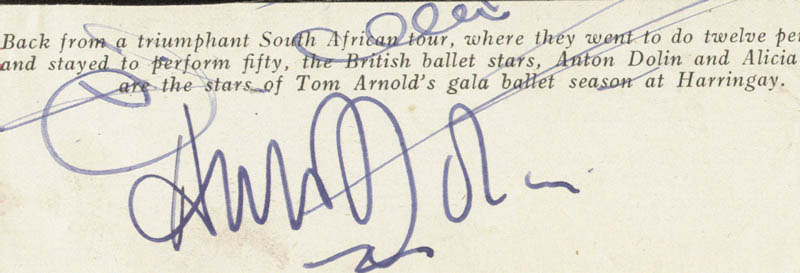 Image 1 for Anton Dolin - Autograph Sentiment Signed - HFSID 146580