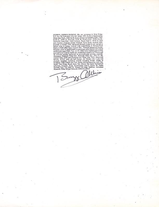 Image 1 for Colonel Buzz Aldrin - Photocopy Signed In Ink - HFSID 146639
