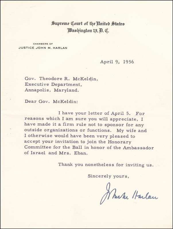 Image 1 for Associate Justice John M. Harlan Jr. - Typed Letter Signed 04/09/1956 - HFSID 146658