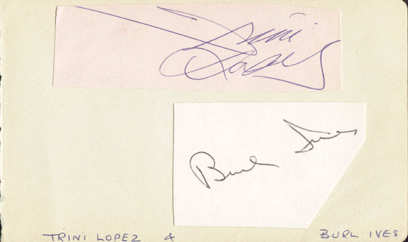 Image 1 for Burl Ives - Autograph co-signed by: Trini Lopez - HFSID 146688
