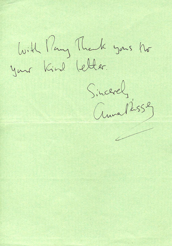 Image 1 for Anna Massey - Autograph Sentiment Signed Circa 1986 - HFSID 146748
