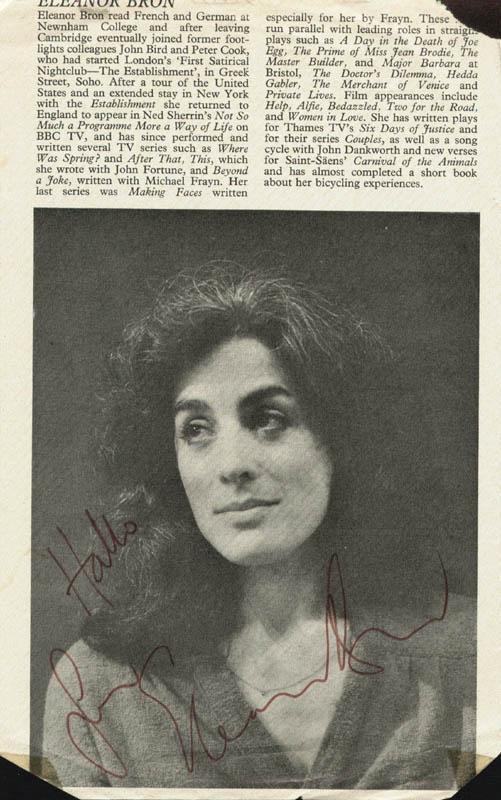 Image 2 for Eleanor Bron - Biography Signed co-signed by: Irene Handl - HFSID 146868