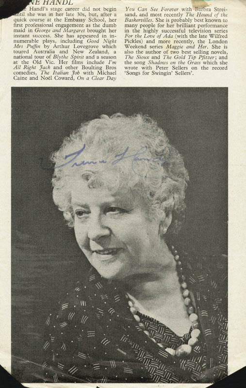 Image 3 for Eleanor Bron - Biography Signed co-signed by: Irene Handl - HFSID 146868