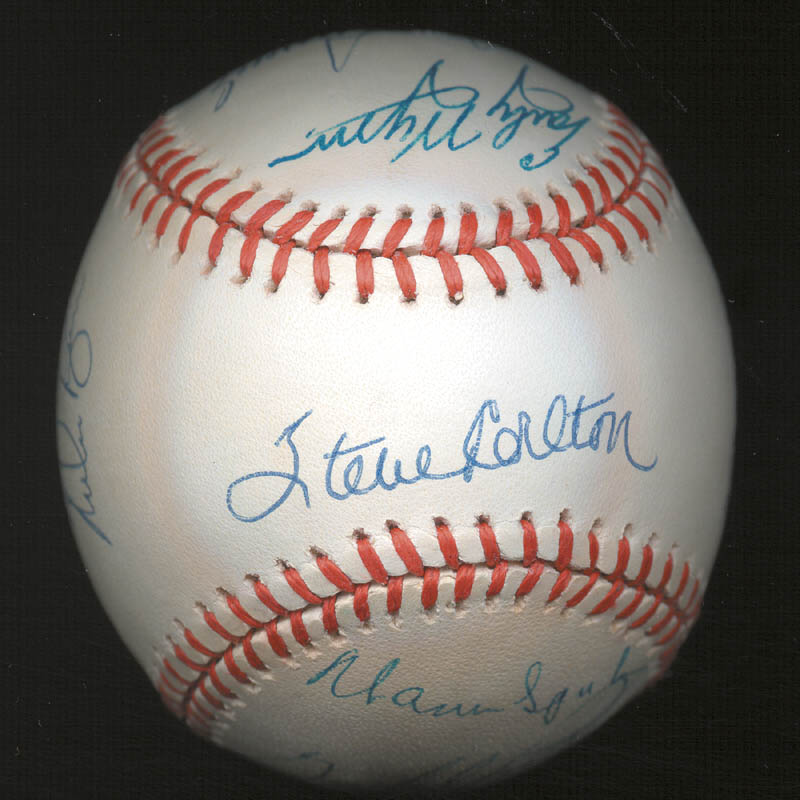 Image 3 for 300+ Career Wins - Autographed Signed Baseball with co-signers - HFSID 146952