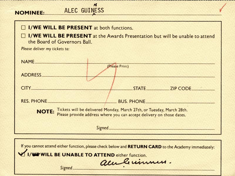 Image 1 for Sir Alec Guinness - Document Signed - HFSID 147535