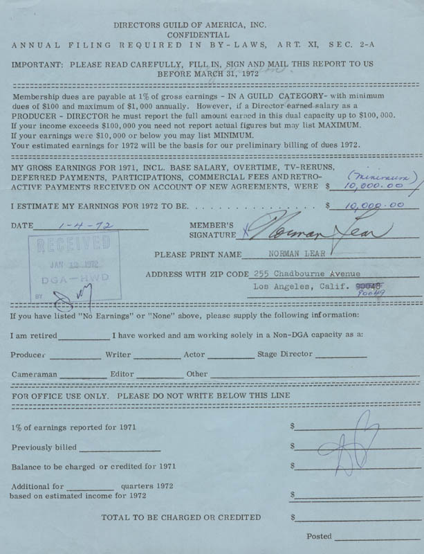 Image 1 for Norman Lear - Annotated Document Signed 01/04/1972 - HFSID 147612