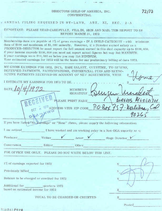 Image 1 for Burgess Meredith - Document Signed 10/04/1972 - HFSID 147621