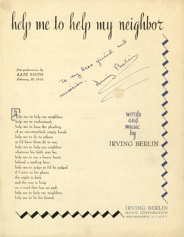 Image 1 for Irving Berlin - Sheet Music Signed - HFSID 147703
