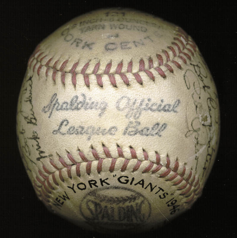 Image 8 for The New York Giants - Autographed Signed Baseball Circa 1946 with co-signers - HFSID 147755