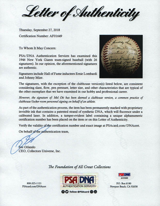 Image 9 for The New York Giants - Autographed Signed Baseball Circa 1946 with co-signers - HFSID 147755