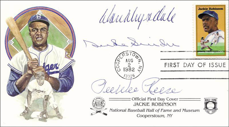 Image 1 for Duke Snider - First Day Cover Signed co-signed by: Pee Wee Reese, Don Drysdale - HFSID 147768