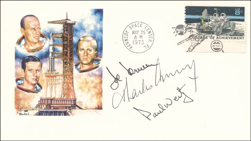 Image 1 for Captain Paul J. Weitz - Commemorative Envelope Signed co-signed by: Captain Joseph Kerwin, Captain Charles 'Pete' Conrad Jr. - HFSID 148220
