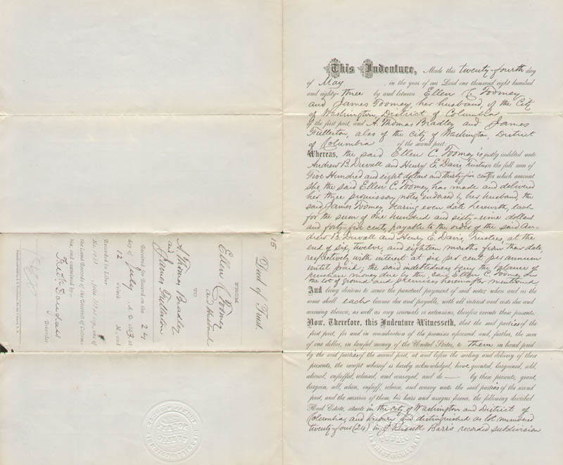 Image 1 for Frederick Douglass - Deed Signed 07/24/1883 - HFSID 148407