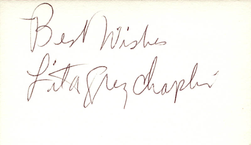 Image 1 for Lita Grey Chaplin - Autograph Sentiment Signed - HFSID 148553
