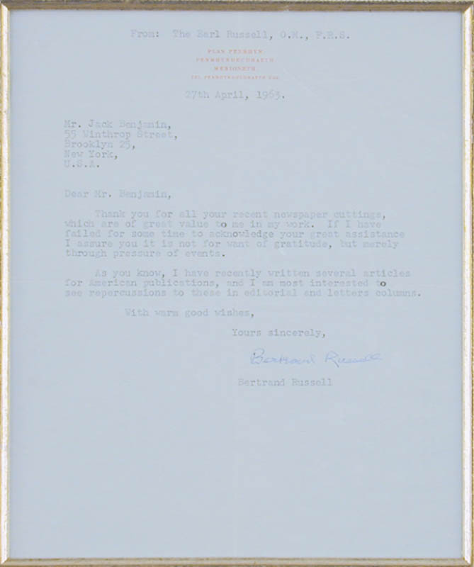 Image 3 for Bertrand Russell - Typed Letter Signed 04/27/1963 - HFSID 148701