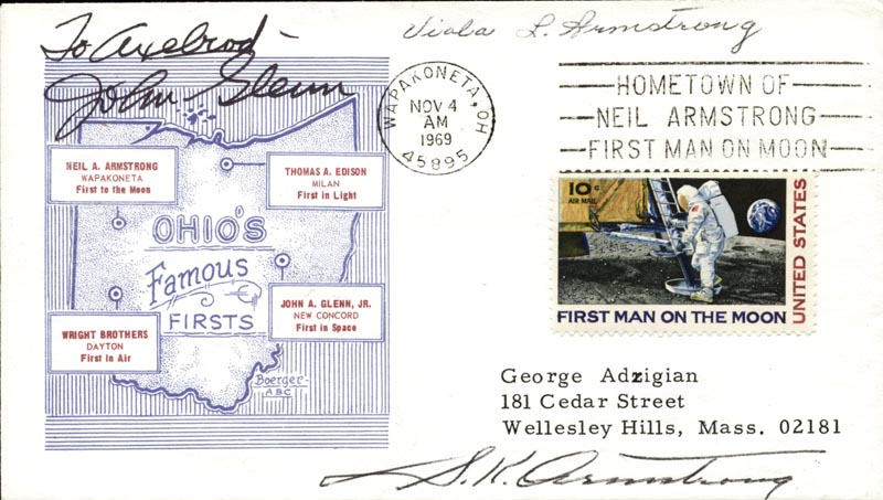 Image 1 for John Glenn - Inscribed Commemorative Envelope Signed co-signed by: Viola L. Armstrong, S. K. Armstrong - HFSID 148766