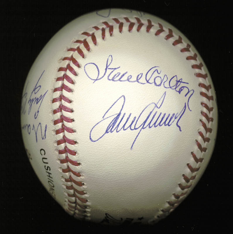 Image 4 for 300+ Career Wins - Autographed Signed Baseball with co-signers - HFSID 148783