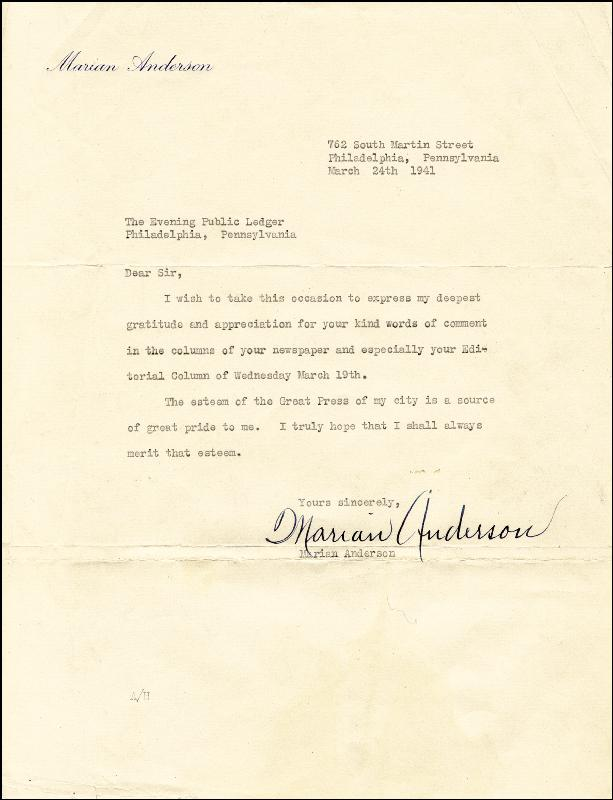 Image 1 for Marian Anderson - Typed Letter Signed 03/24/1941 - HFSID 149113