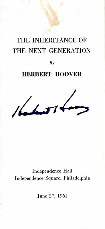 Image 1 for President Herbert Hoover - Speech Signed Circa 1961 - HFSID 149189
