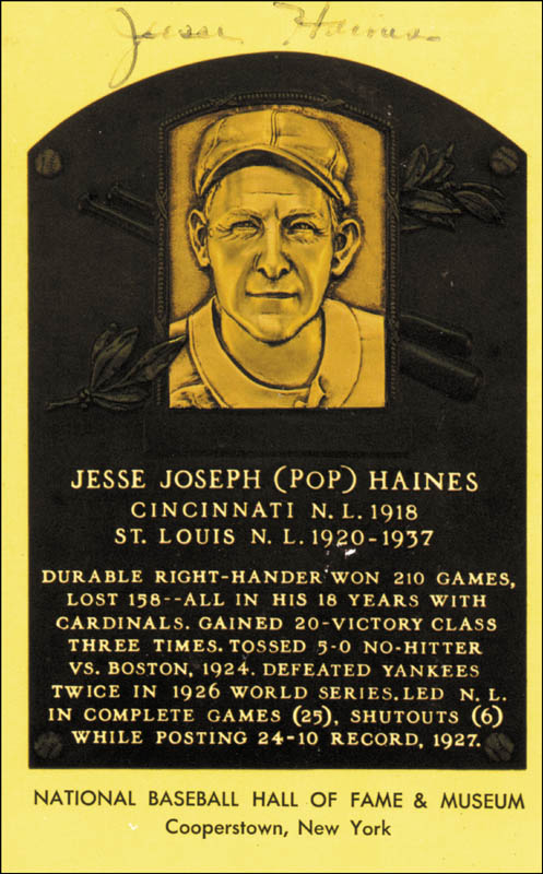 Image 1 for Jesse J. 'Pop' Haines - Baseball Hall Of Fame Plaque Postcard Signed - HFSID 1502