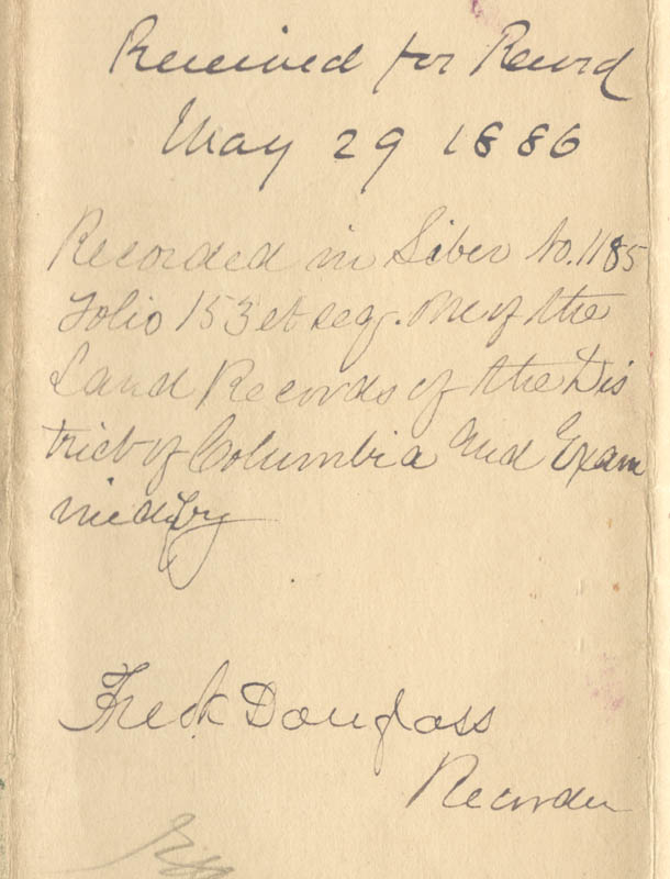 Image 3 for Frederick Douglass - Deed Signed 05/29/1886 - HFSID 150655