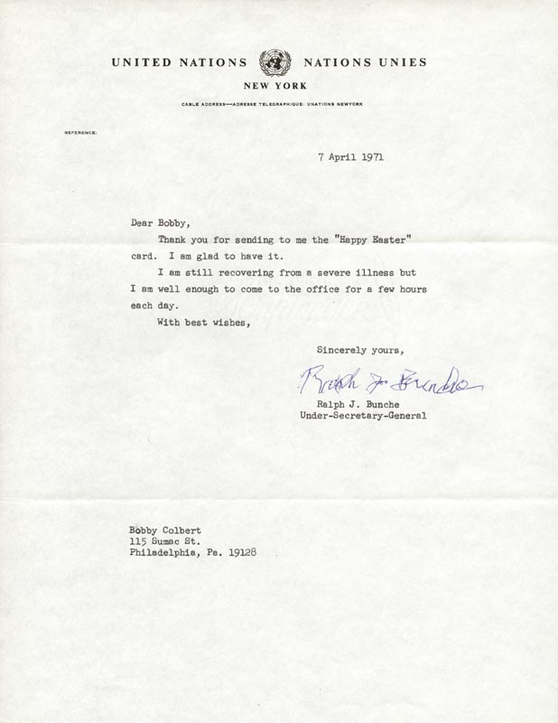 Image 1 for Ralph J. Bunche - Typed Letter Signed 04/07/1971 - HFSID 152164