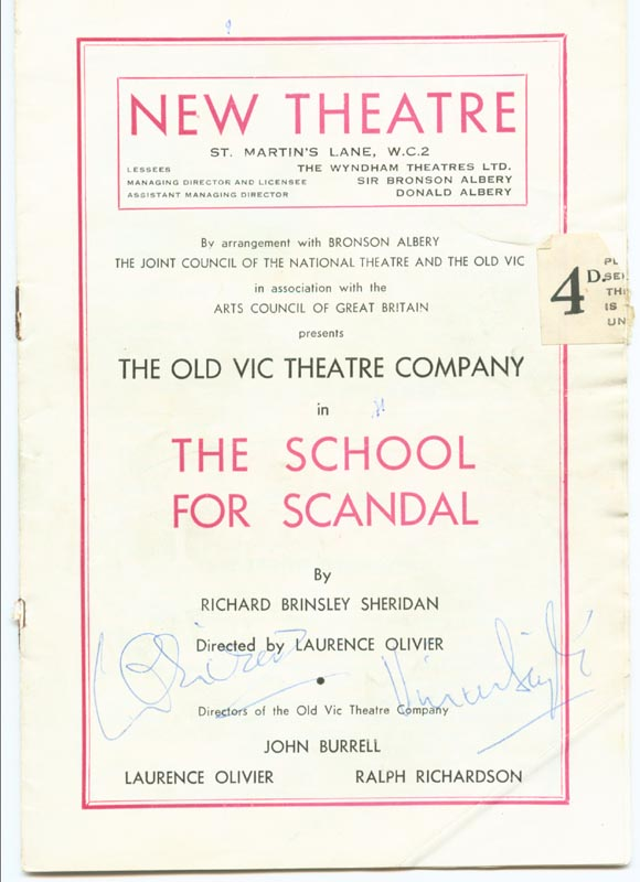 Image 1 for School For Scandal Play Cast - Program Signed co-signed by: Vivien Leigh, Laurence Olivier - HFSID 152564