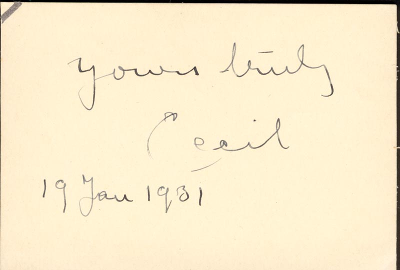 Image 1 for Robert Cecil - Autograph 01/19/1931 - HFSID 152624
