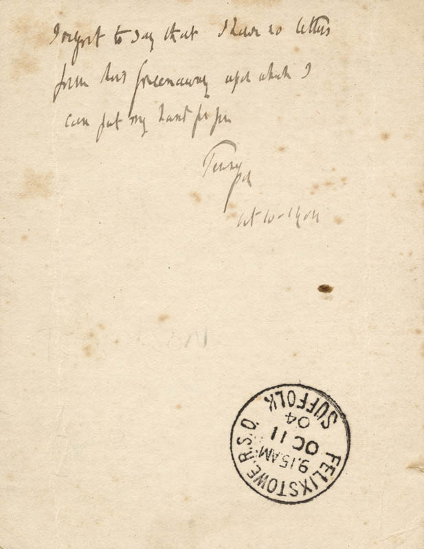 Image 3 for Hallam Tennyson - Autograph Note Signed 1904 - HFSID 152752