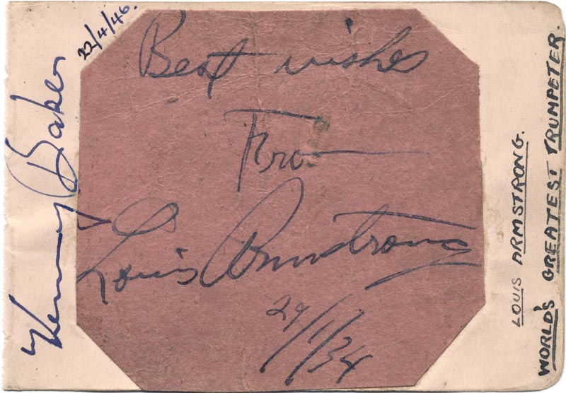 Image 1 for Louis 'Satchmo' Armstrong - Autograph 01/29/1934 co-signed by: Ted Heath Band (Kenny Baker) - HFSID 152830