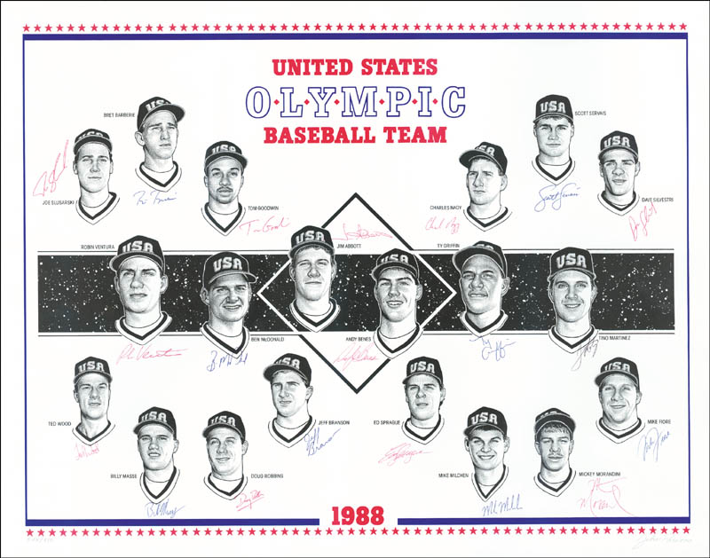Image 1 for U.S. Olympic Baseball Team - Printed Art Signed In Ink with co-signers - HFSID 153186
