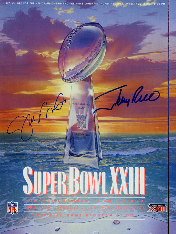 Image 1 for Joe Montana - Super Bowl Program Signed co-signed by: Jerry Rice - HFSID 153275