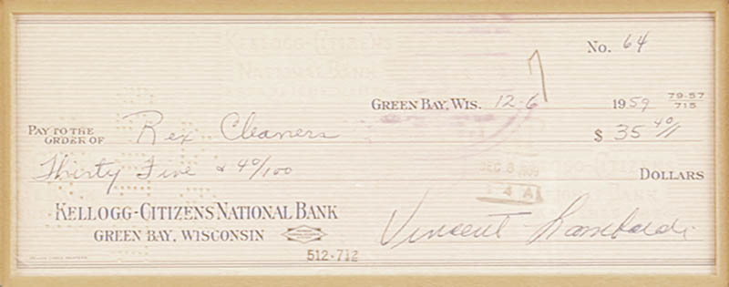 Image 3 for Vince Lombardi - Autographed Signed Check 12/06/1959 - HFSID 153392