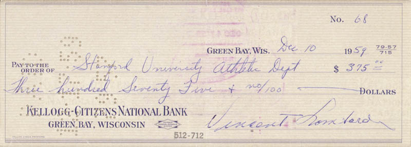 Image 3 for Vince Lombardi - Autographed Signed Check 12/10/1959 - HFSID 153421
